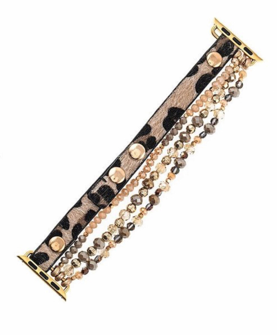 Leopard Beaded Apple Watch Band