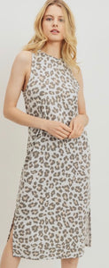 Sleeveless Midi Dress in Gray Leopard
