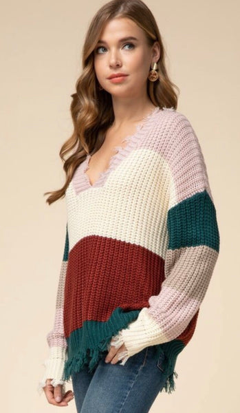 Distressed Color-Block Sweater
