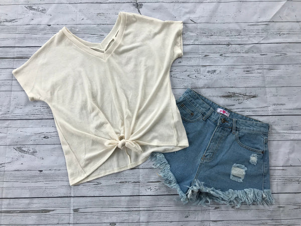 Daisy Light Wash Denim Shorts