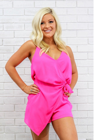 Hot Pink Wrap Romper