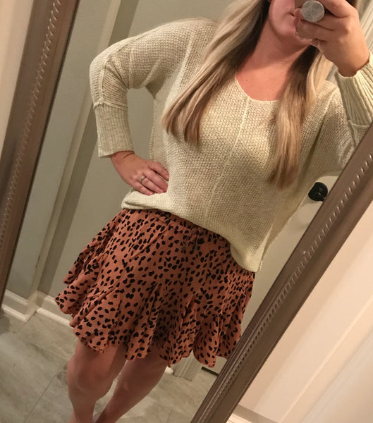 Leopard Skirt-Brown
