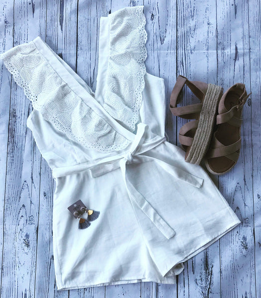 Lace Sleeve Romper - OFF WHITE