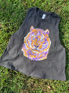 Layered Tiger Crop Tank