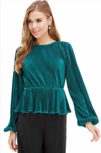 Emerald Green Peplum Top