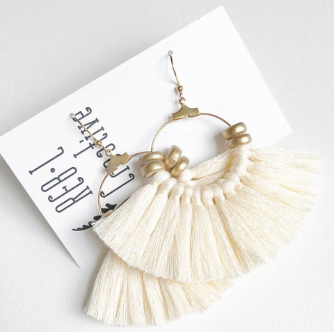 REBL OG Tassel Hoops-Cream