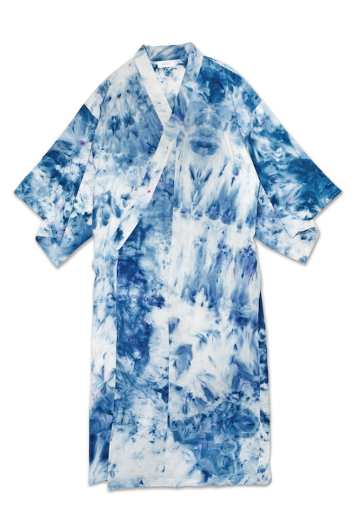 Raw silk robe in Splash