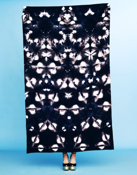 raw silk sarong in black itajime