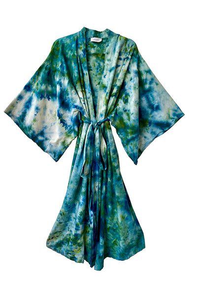 Raw Silk Robe in Peacock