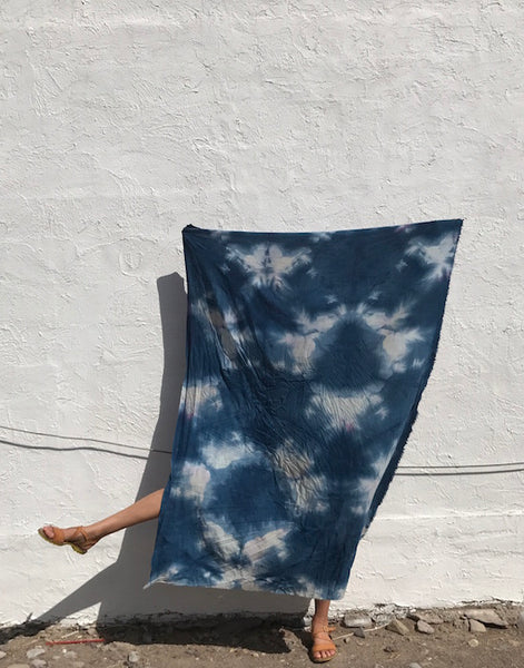 Raw Silk Sarong in Indigo Itajime