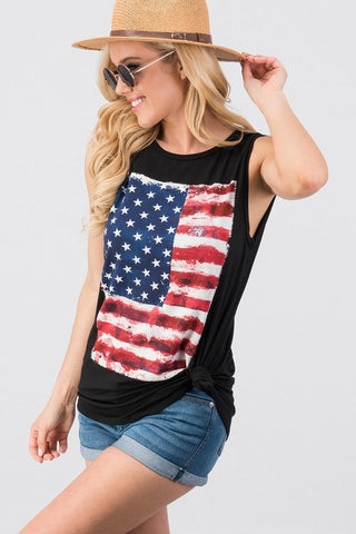 Land Of The Free Tunic Tank - Black