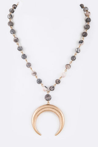 Luna Love Necklace - Grey & Pink
