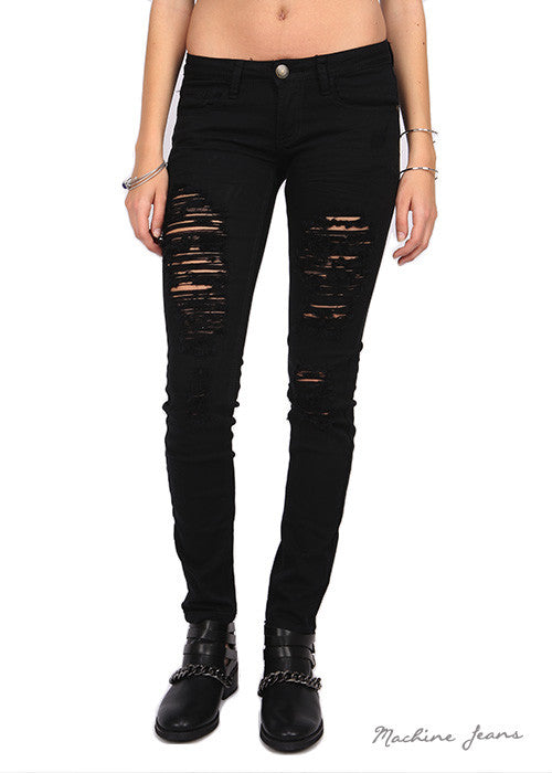 A Cut Above Distressed Skinny Jeans - Collette