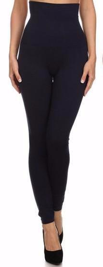 Tummy Control Fleece Lined Leggings - Navy - Collette