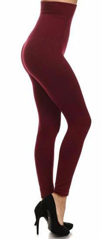 Tummy Control Fleece Lined Leggings -Wine