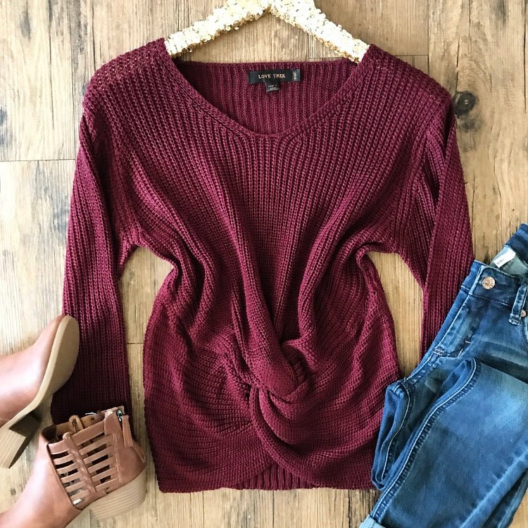 Feeling Like Fall Sweater - Burgundy