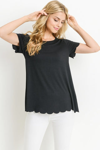 Simply Scalloped Top - Black