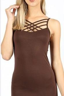 Criss-Cross Cami - Mocha - Collette