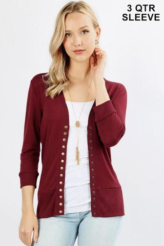 Falling For You Cardigan - Burgundy