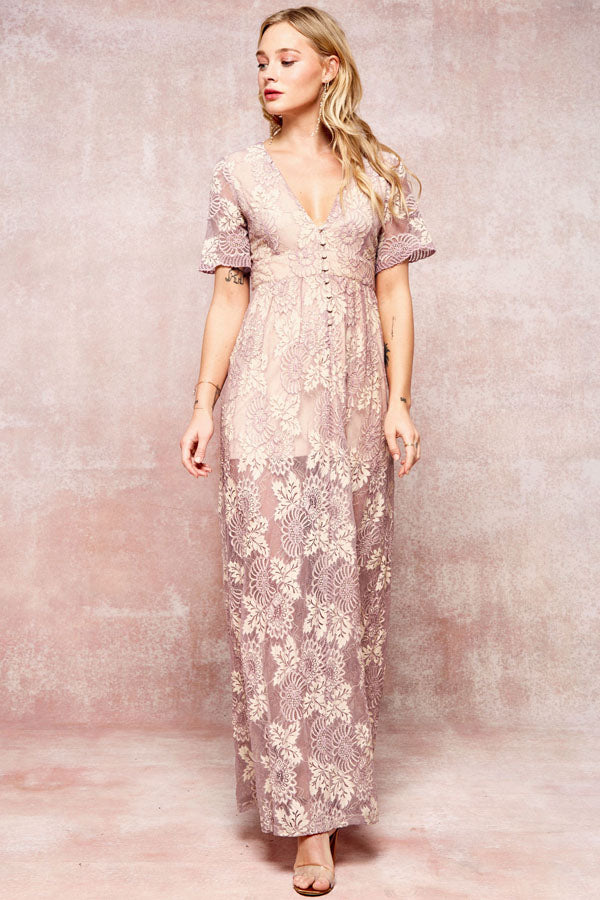 Romantic Lace Maxi Dress - Collette