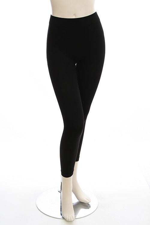 Black Seamless Fleece Lined Leggings - Collette