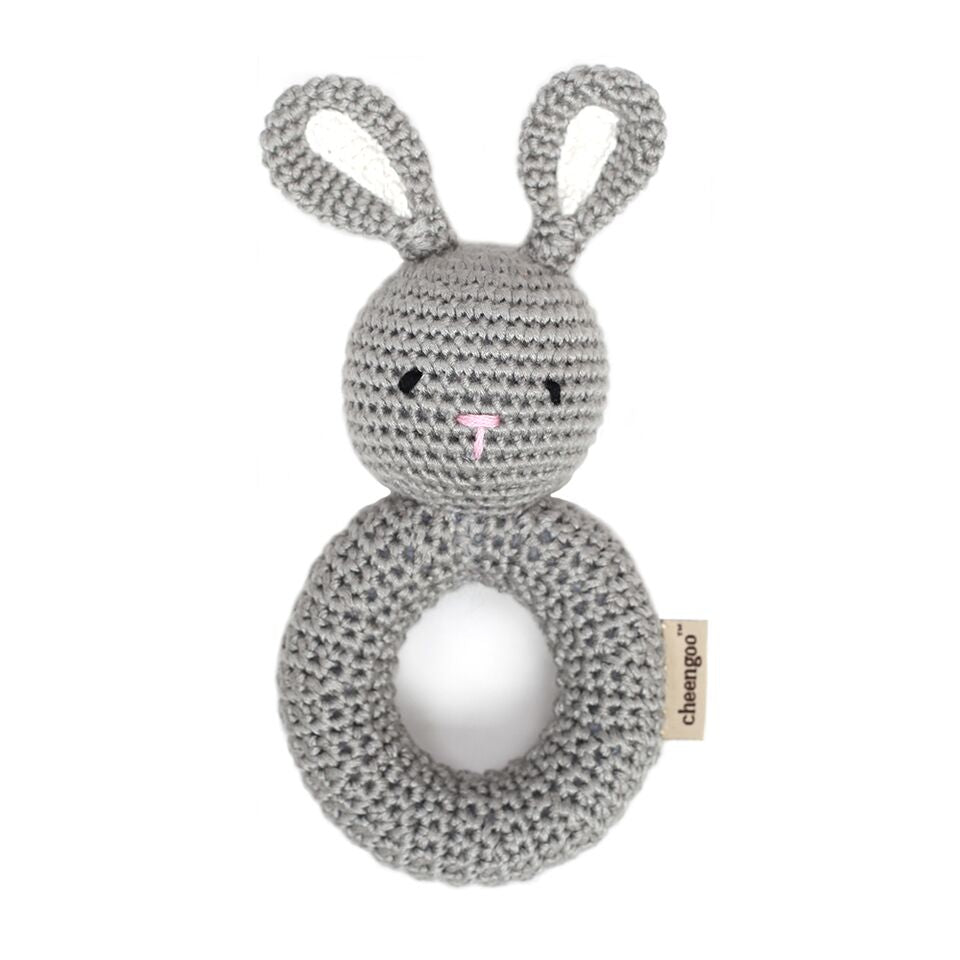 Cheengoo - Bunny Ring Hand Crocheted Rattle