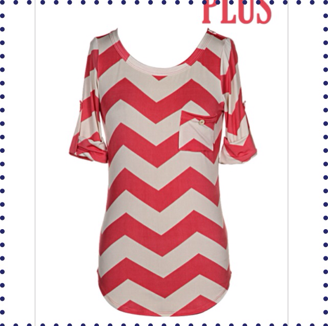 Something About Chevron Plus Sized Top - Coral - Collette