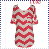 Something About Chevron Plus Sized Top - Coral