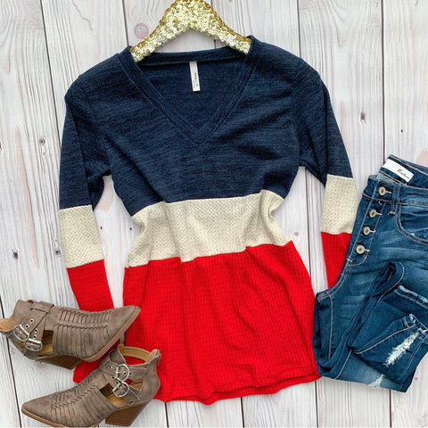 V-Neck Color Block Top
