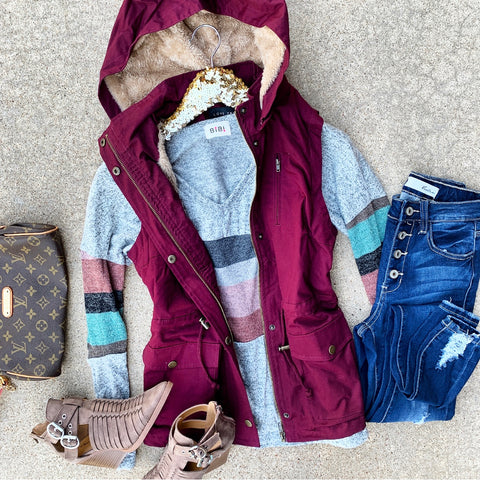 Waiting For You Fur Vest - Burgundy