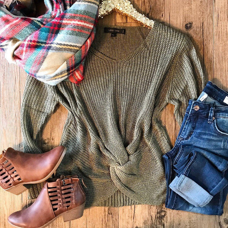 Feeling Like Fall Sweater - Olive - Collette