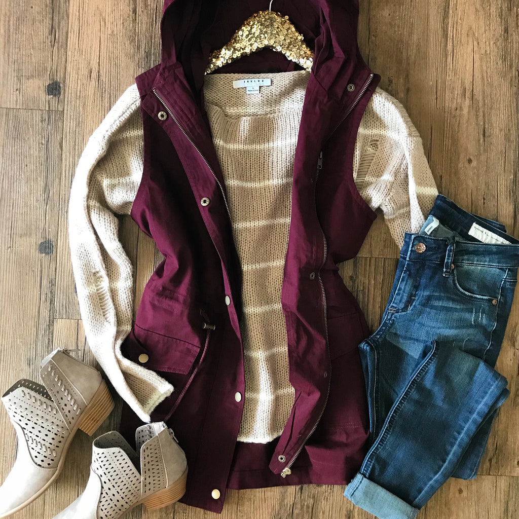 Burgundy Cargo Vest - Collette