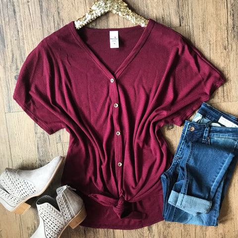 Echoes Of My Heart Top - Burgundy