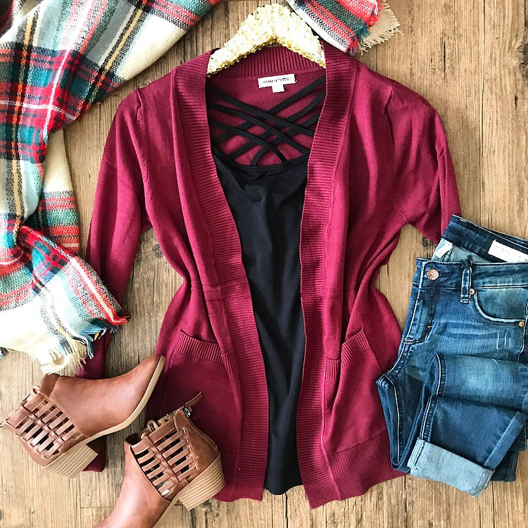 I Gotta Feeling Cardigan - Burgundy - Collette