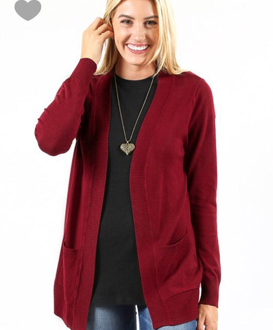 I Gotta Feeling Cardigan - Burgundy