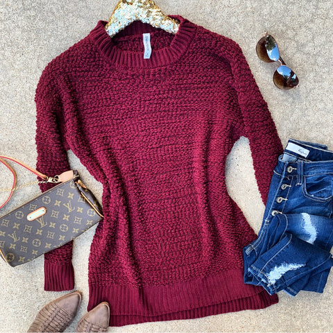Burgundy Popcorn Sweater Tunic