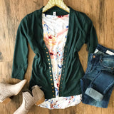 Falling For You Cardigan - Forest Green - Collette's Closet Boutique