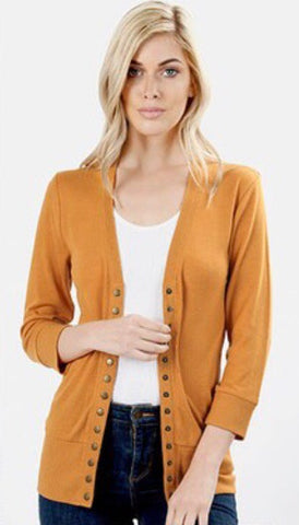 Falling For You Cardigan - Mustard