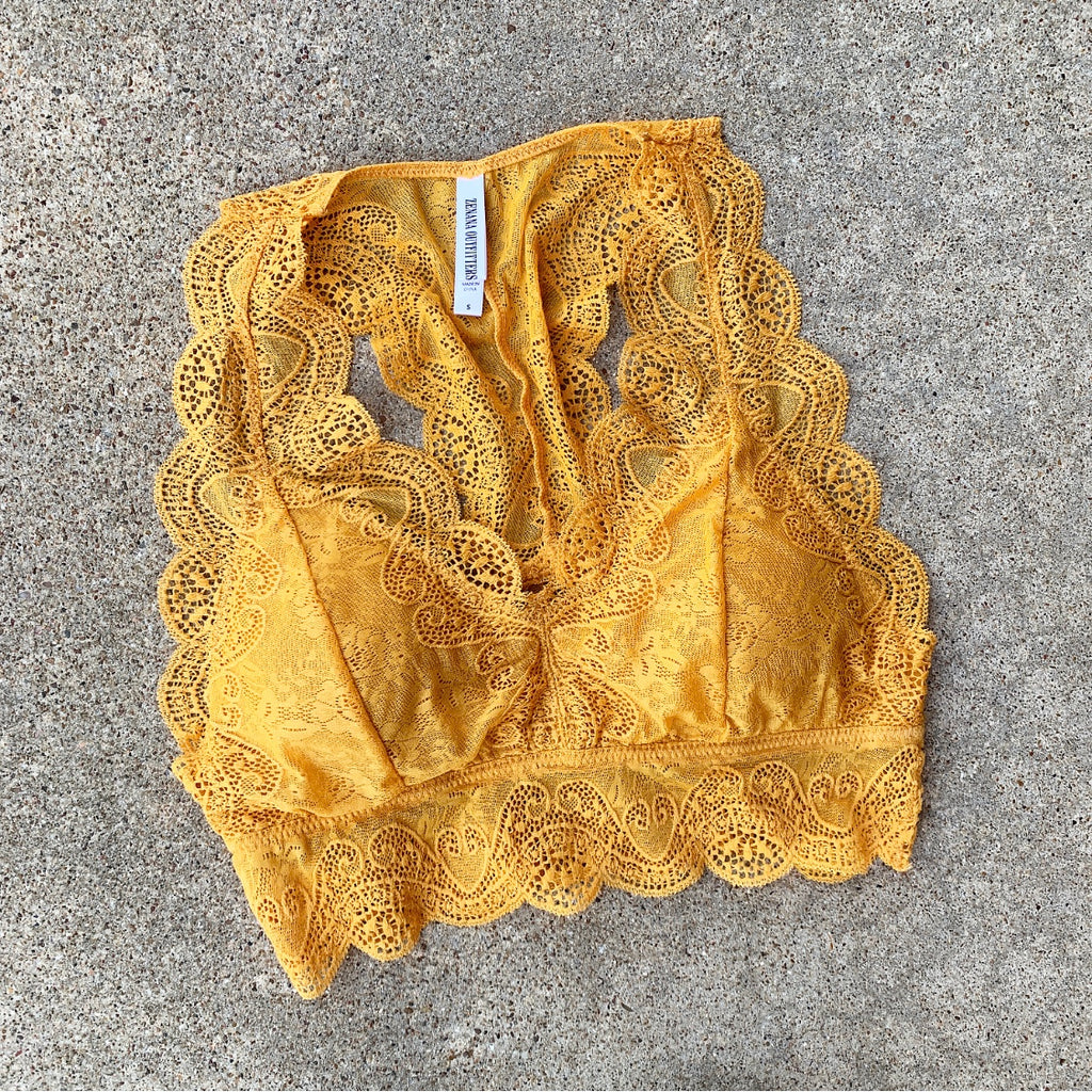 So This Is Love Mustard Lace Bralette
