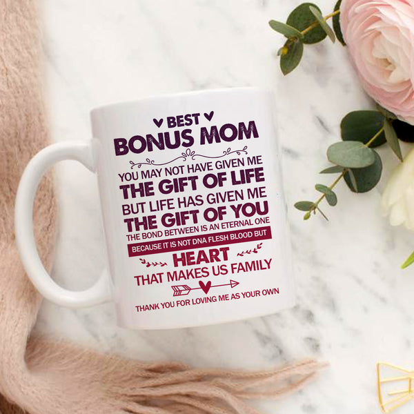 Best Bonus Mum Mother's Day Mug, Not DNA But HEART Makes Us Family