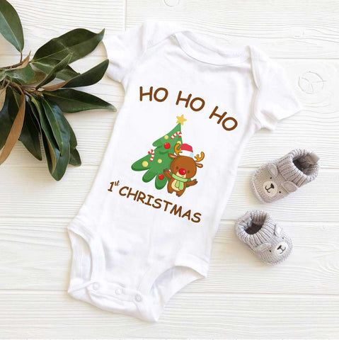 Hohoho first Christmas Shirt with cute Reindeer and Christmas tree is a  cool thing to be an early present for your baby this Xmas holiday!