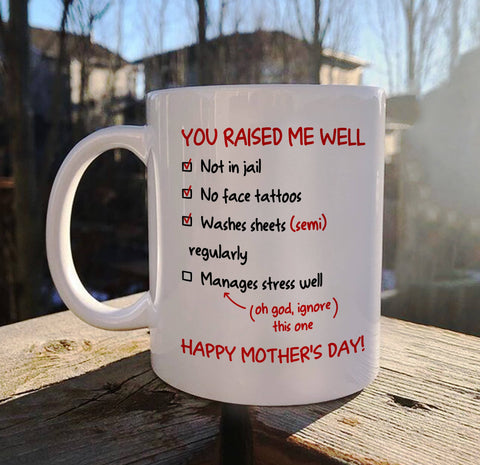 You Raised Me Well - Funny Mother's Day Mug - Happy Father's Day 2020