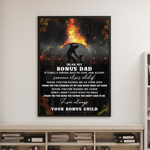 Thank You Bonus Dad Poster, Meaningful Father's Day Gift For Stepdad - Happy Father's Day 2020