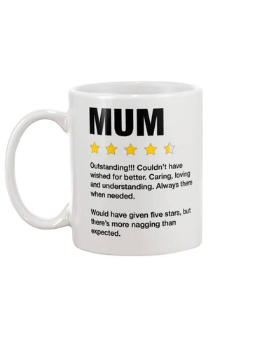 Mum Five Stars Outstanding Mug - Meaningful Mother's Day Gift - Happy Father's Day 2020