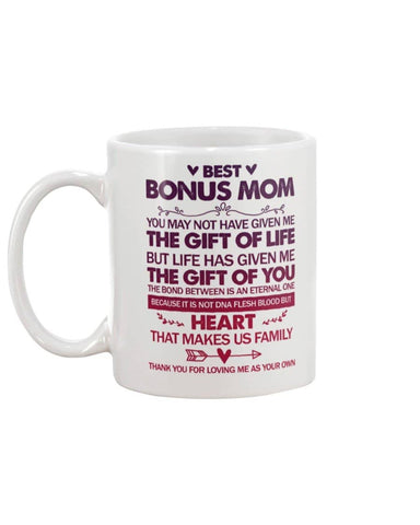 Best Bonus Mum Mother's Day Mug, Not DNA But HEART Makes Us Family - Happy Father's Day 2020