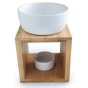 Square Oil Burner - Ceramic & Bamboo