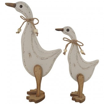 White Wooden Duck Set of 2