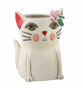 Pretty Kitty Planter - White