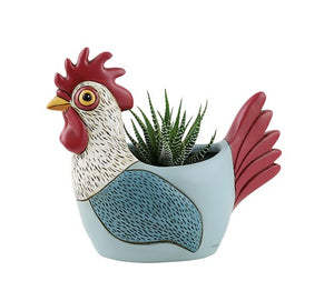 Light Blue Rooster Planter