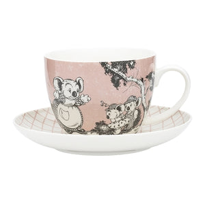 Blinky Bill Big Cup & Saucer - Coral
